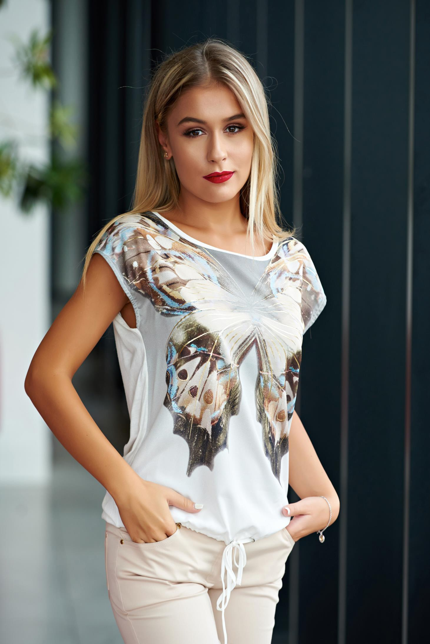 Tricou Top Secret nude casual material usor elastic cu print