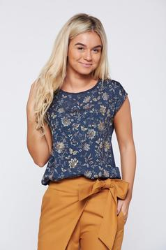 Top Secret black casual top shirt from slightly elastic fabric with floral prints