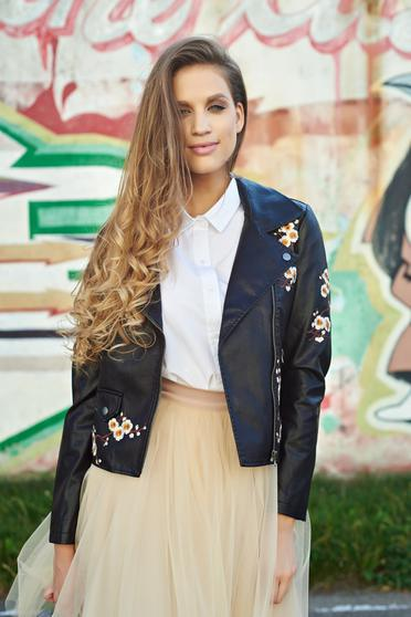 Casual ecological leather black jacket with embroidery details