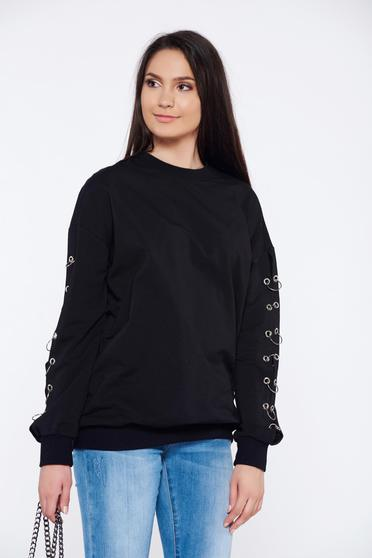 Black flared casual cotton sweater