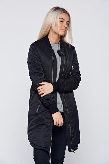 Black casual slicker jacket with zippers