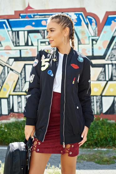 Black embroidered casual jacket with pockets