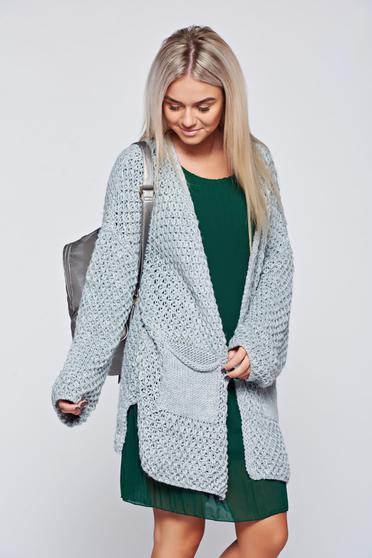 Casual flared knitted grey sweater