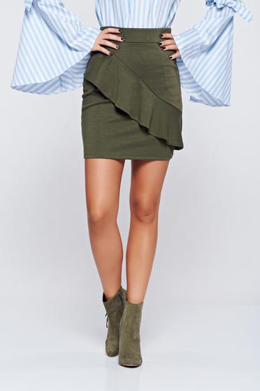 Top Secret green casual short skirt with medium waist
