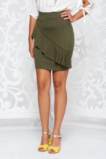 Top Secret green casual short skirt with medium waist
