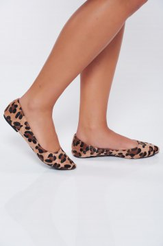 Top Secret lightbrown casual light sole flat shoes with animal print