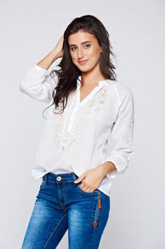 Cream cotton women`s blouse blouse long sleeves