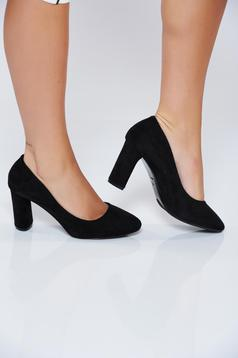 Black office high heel shoes from ecological leather
