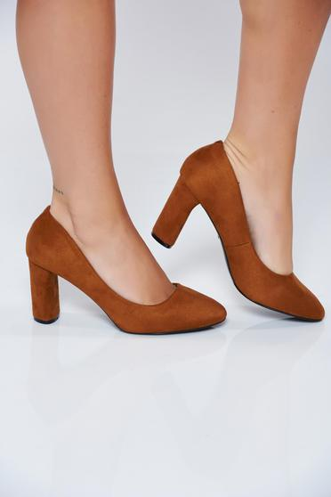 Brown office high heel shoes from ecological leather