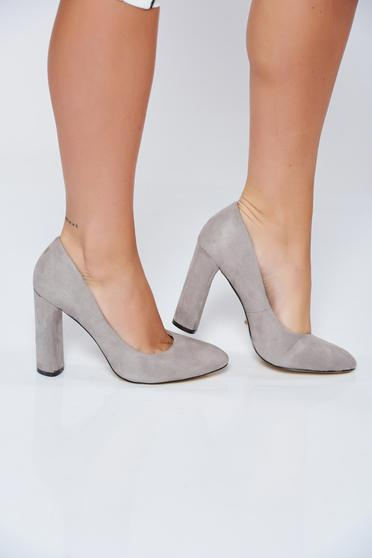 Grey office high heels ecological leather shoes