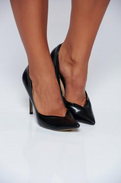 Black shoes office high heels slightly pointed toe tip