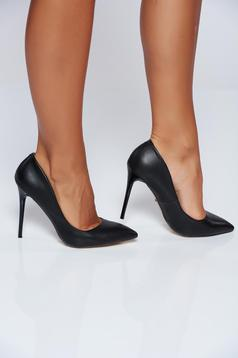 Office black high heels ecological leather shoes