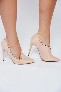 Cream elegant high heel shoes with metallic spikes