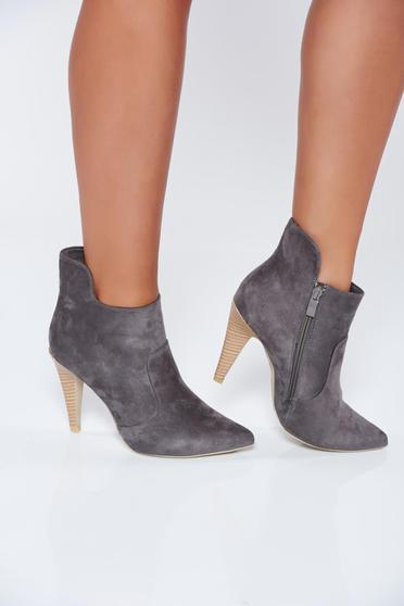 Grey casual high heels ecological leather ankle boots
