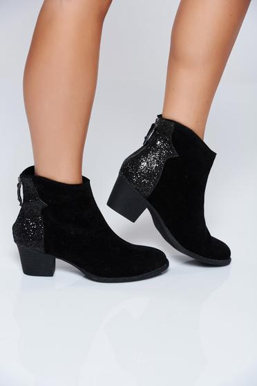 Black square heel casual ankle boots with glitter details