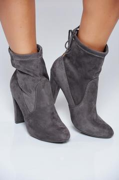 High heels darkgrey casual ankle boots with ribbon fastening