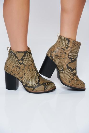 Brown casual ankle boots with animal print design
