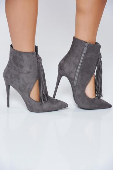 Grey ankle boots with high heels