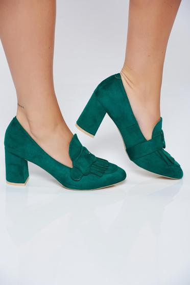 Green office shoes square heel with fringes