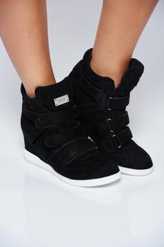 Black casual sneakers from ecological leather