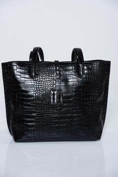 Top Secret casual black ecological leather bag with medium handles