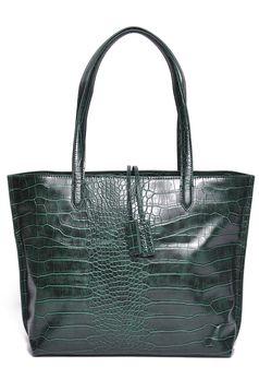 Top Secret casual darkgreen ecological leather bag medium handles