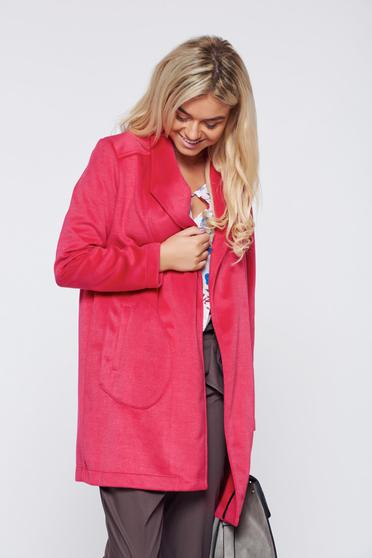 Top Secret coral easy cut elegant trenchcoat from fluffy fabric