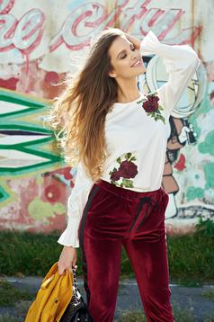 LaDonna white flared embroidered women`s blouse