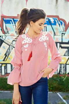 LaDonna red embroidered cotton women`s blouse bell sleeves