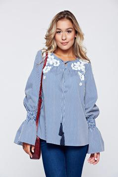 LaDonna blue embroidered cotton women`s blouse with bell sleeves