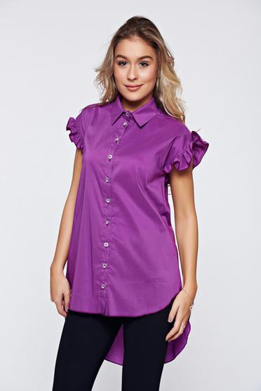 PrettyGirl purple office women`s shirt with ruffled sleeves