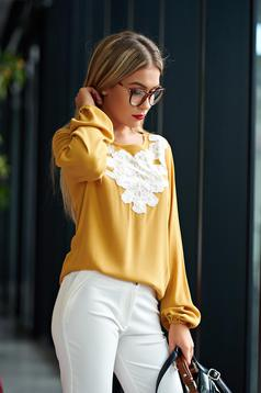 LaDonna flared embroidered yellow office women`s blouse