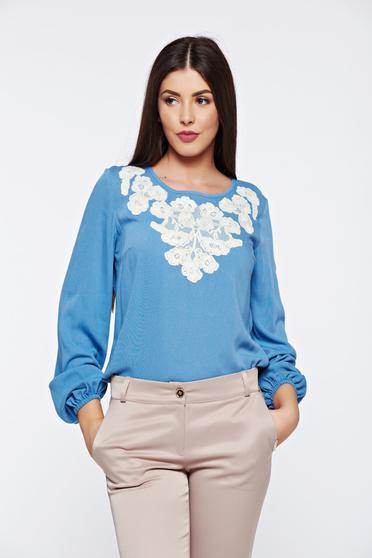 LaDonna flared embroidered blue office women`s blouse