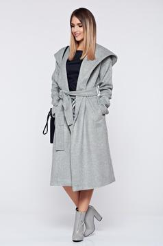 Top Secret lightgrey casual coat accessorized with tied waistband