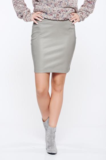 Grey Top Secret casual ecological leather short skirt with medium waist