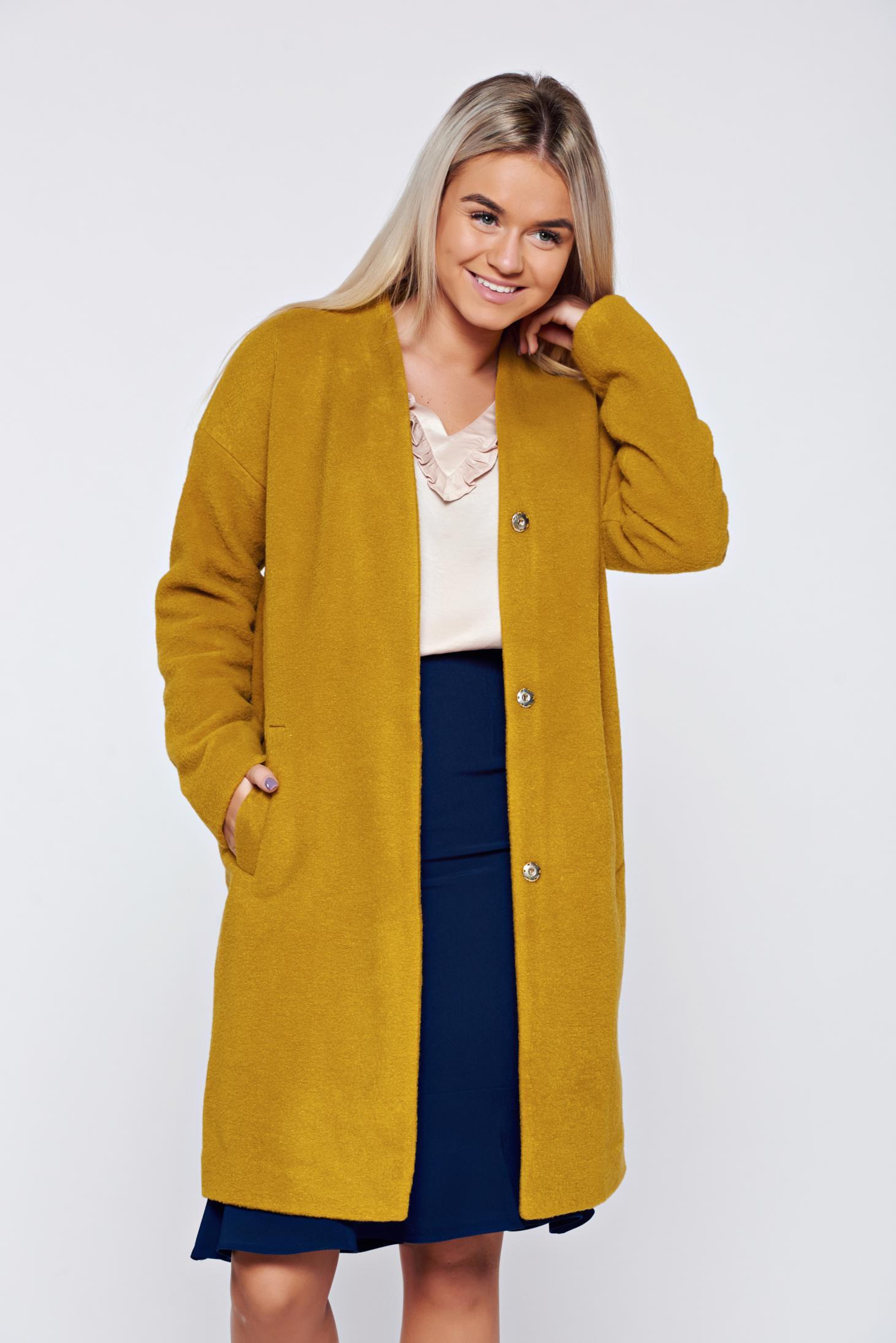 Palton Top Secret galben casual cu maneca lunga cu croi larg