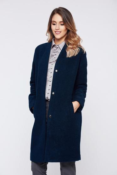 Top Secret flared darkblue casual coat with long sleeve