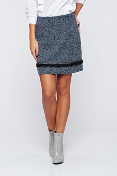 Top Secret blue office elegant short skirt with medium waist
