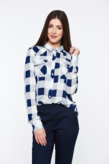 Top Secret blue women`s shirt casual with easy cut with front pockets