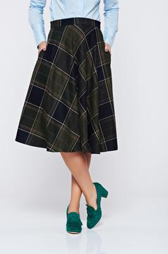 LaDonna darkgreen skirt office cloche cotton