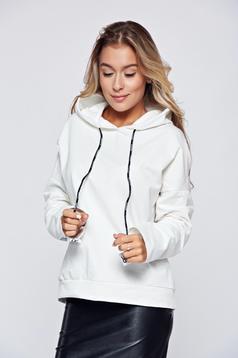 White casual cotton set elastic waist