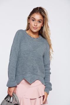 Grey casual knitted sweater cut-out edge