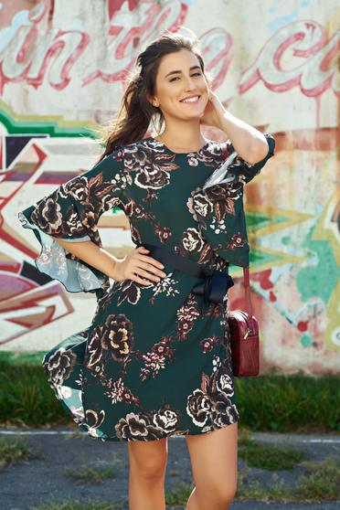 Darkgreen daily voile fabric dress bell sleeve