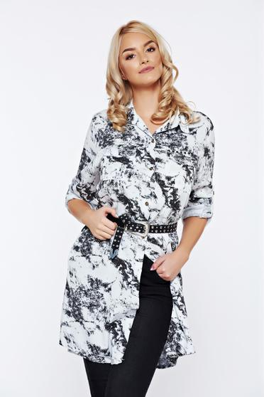 White easy cut casual women`s shirt with print details