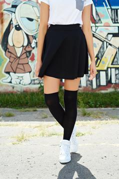 Black cloche casual skirt with elastic waist
