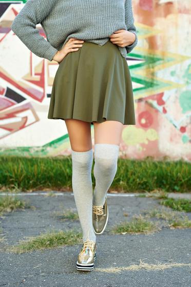 Darkgreen cloche casual skirt elastic waist