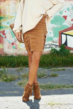 Brown casual velour skirt elastic waist