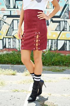 Burgundy casual velour skirt elastic waist