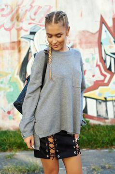 Grey casual easy cut knitted sweater