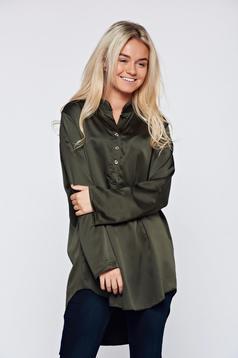 Darkgreen easy cut elegant women`s blouse long sleeve